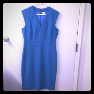 Form Fitting J Crew Mid length blue dress